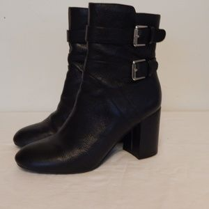 Nine West Black Leather Buckle Booties Boots 7.5